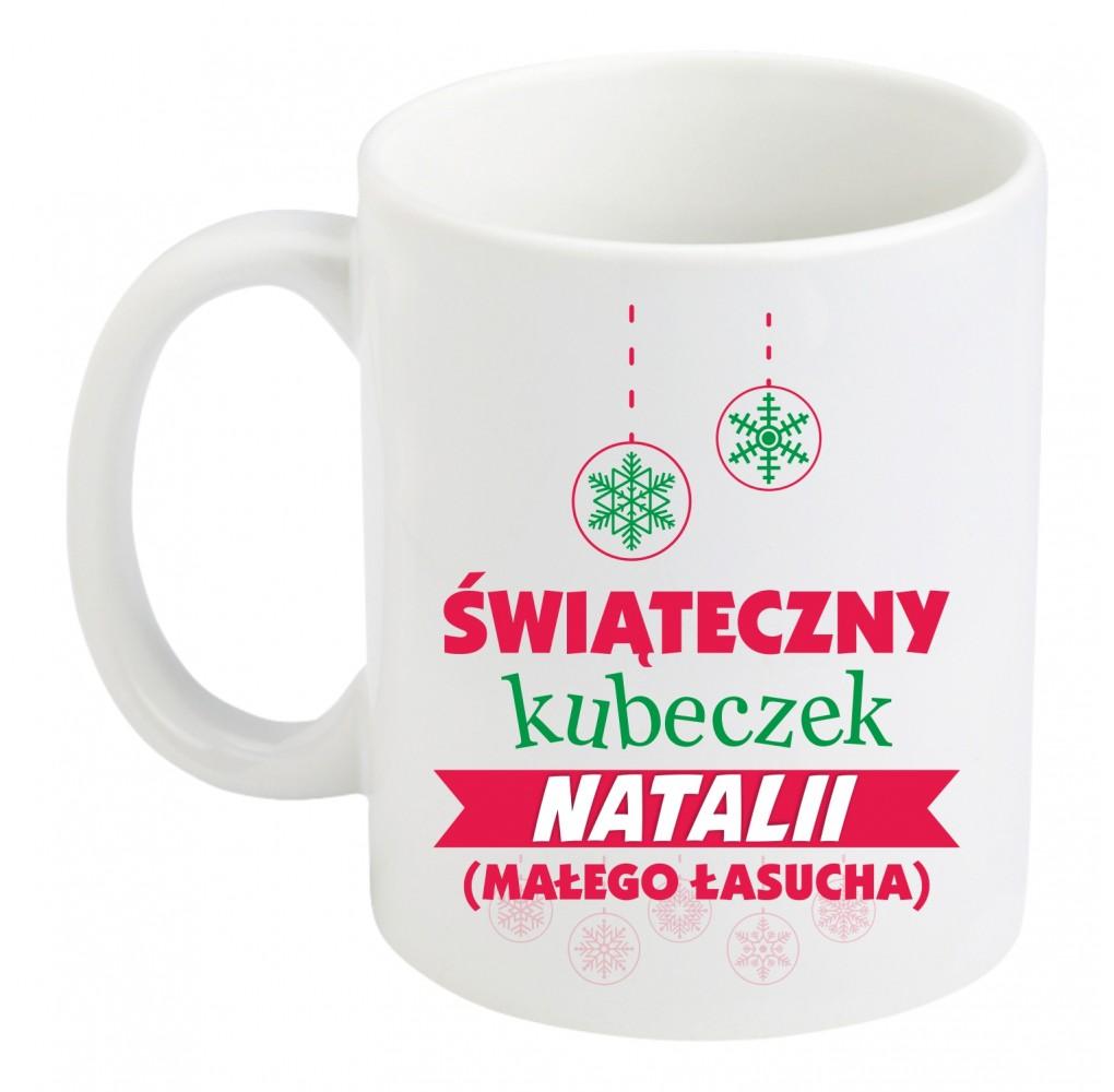 """Kubek zwykły z nadrukiem """"ŚWIĄTECZNY KUBECZEK MAŁEGO ŁASUCHA"""""""