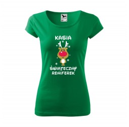 Koszulka damska ŚWIĄTECZNY RENIFEREK (BROKATOWY NADRUK)