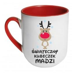 """Kubek kolorowy coffee z nadrukiem """"ŚWIĄTECZNY KUBECZEK (RENIFEREK)"""""""