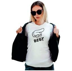 Koszulka damska z nadrukiem BEST (ŁAPKA)