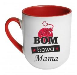 Kubek czerwony coffee BOM BOWA MAMA