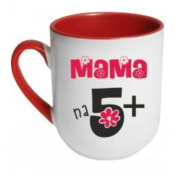 Kubek czerwony coffee MAMA NA 5+