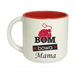 Kubek czerwony szeroki BOM BOWA MAMA