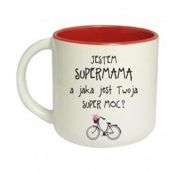Kubek czerwony szeroki JESTEM SUPERMAMĄ A JAKA JEST TWOJA SUPER MOC