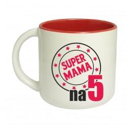 Kubek czerwony szeroki SUPER MAMA NA 5
