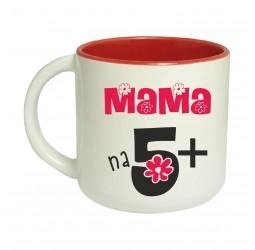 Kubek czerwony szeroki MAMA NA 5+
