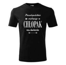 """Koszulka męska z nadrukiem """"PRAWDOPODOBNIE NAJLEPSZY CHŁOPAK NA ŚWIECIE"""""""
