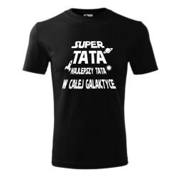 """Koszulka męska z nadrukiem: """"SUPER TATA NAJLEPSZY TATA W CAŁEJ GALAKTYCE"""""""