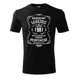 """Koszulka męska z nadrukiem: """"NARODZINY LEGENDY EDYCJA LIMITOWANA URODZONA PERFEKCJA PREMIUM DELUX"""""""