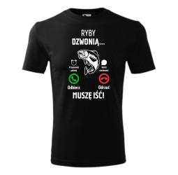 """Koszulka męska z nadrukiem: """"RYBY DZWONIĄ... MUSZE IŚĆ!"""""""