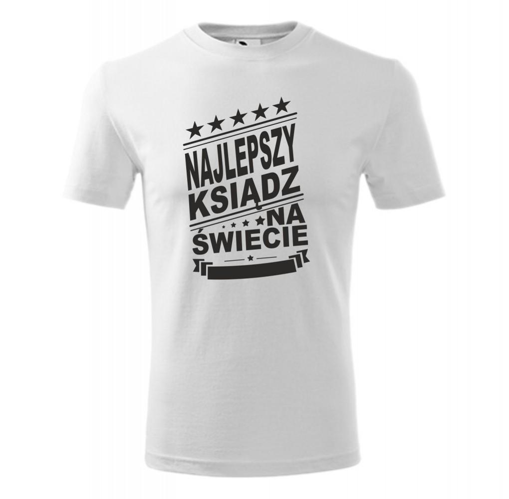 """Koszulka męska z nadrukiem: """"NAJLEPSZY KSIĄDZ NA ŚWIECIE"""""""